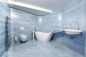Futurystyczna łazienka z minimalistycznym wyposażeniem