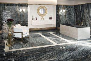 Przestronny pokój kąpielowy z włoskimi płytkami