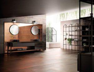 Duża, przestronna łazienka z industrialnym wyposażeniem