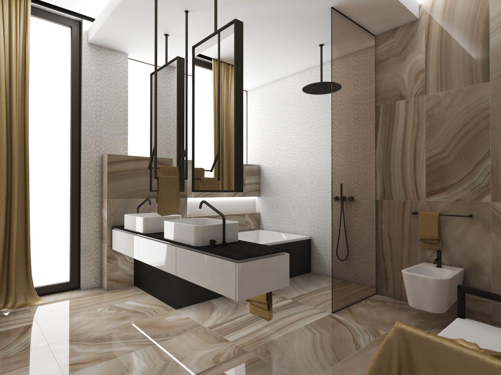 Funkcjonalna, industrialna łazienka z dużymi lustrami