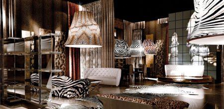 Luksusowy salon urządzony według projektu Cavalli