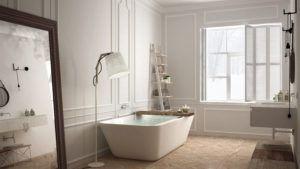 Skandynawska łazienka z białym wyposażoniem w hotelu SPA