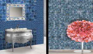 Łazienka z mozaiką w kolorze niebieskiem w Bellamica