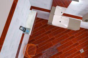 Projekt nowoczesnej łazienki z czerwonymi płytkami w Bellamica