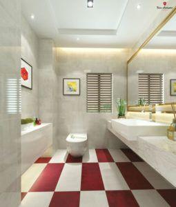 Projekt łazienki z białymi i czerwonymi płytkami w Bellamica