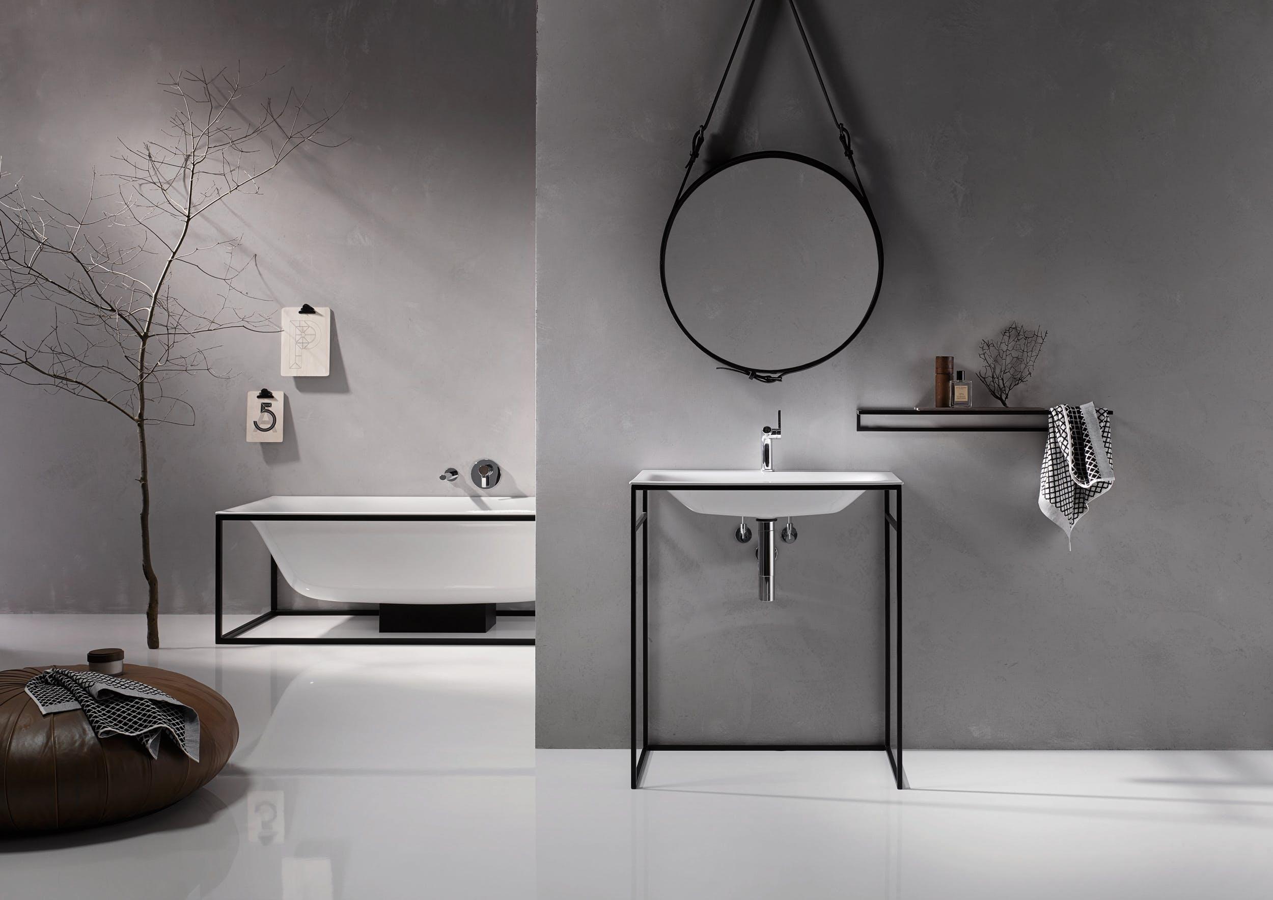 Industrialne wyposażenie łazienki w salonie Bellamica
