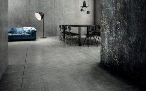 Salon z płytkami imitującymi beton w salonie Bellamica