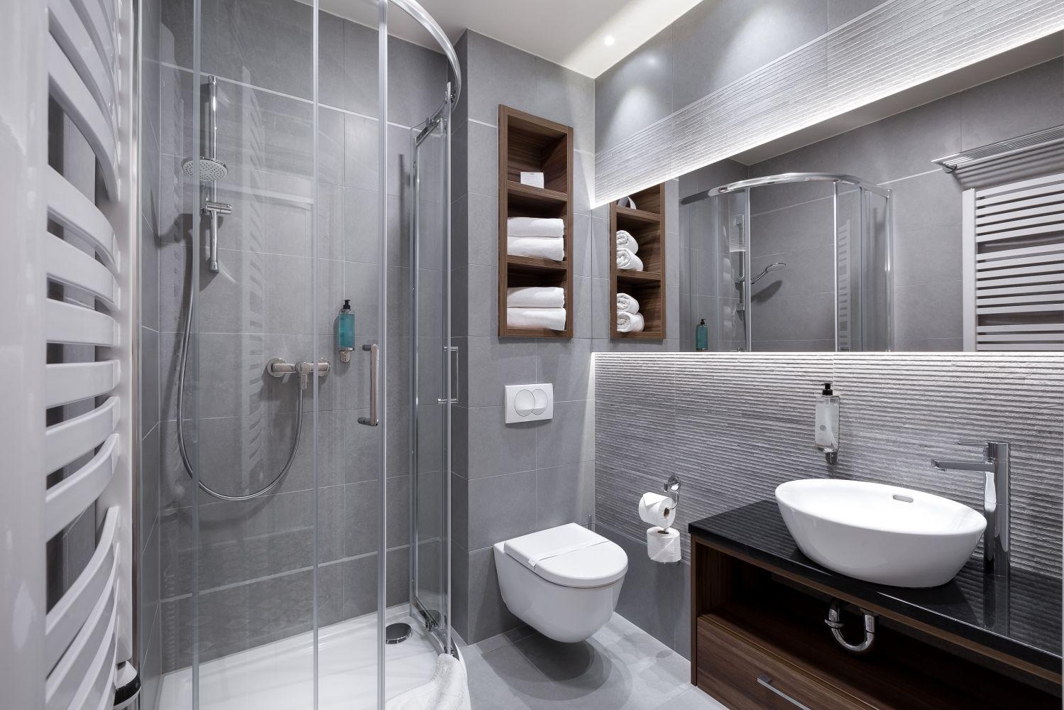 Aranżacja płytek z Bellamica w łazience Hotelu Kocierz