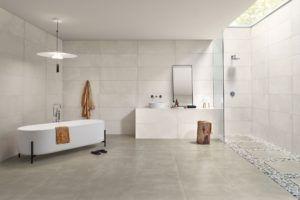 Minimalistyczne wyposażenie łazienki w salonie Bellamica zaprojektowane przez Love