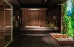 Projekt łazienki z zabudowaną wanną i sauną w salonie Bellamica